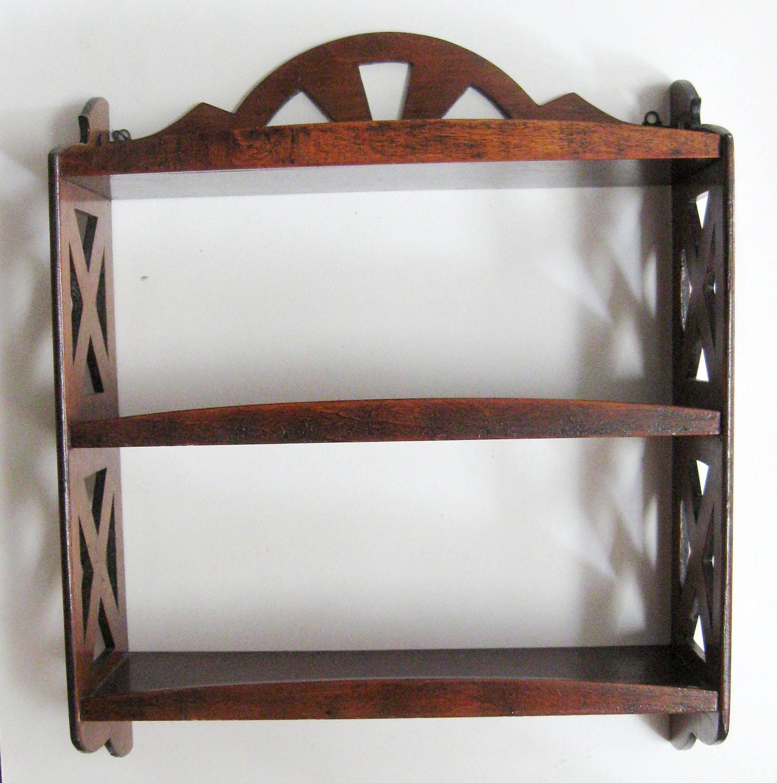 Vintage Wooden Wall Shelf Knick Knack Curio Shelf By