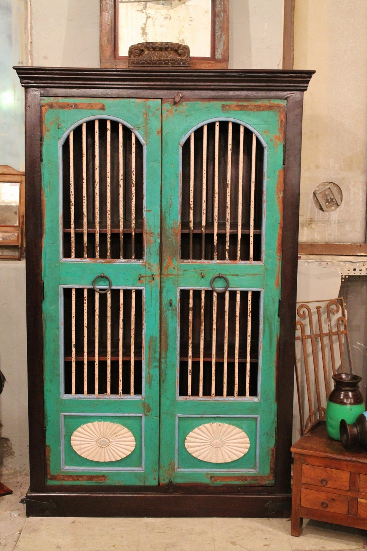 SALE Distressed Rusic Antique Teal Indian Door Storage Cabinet