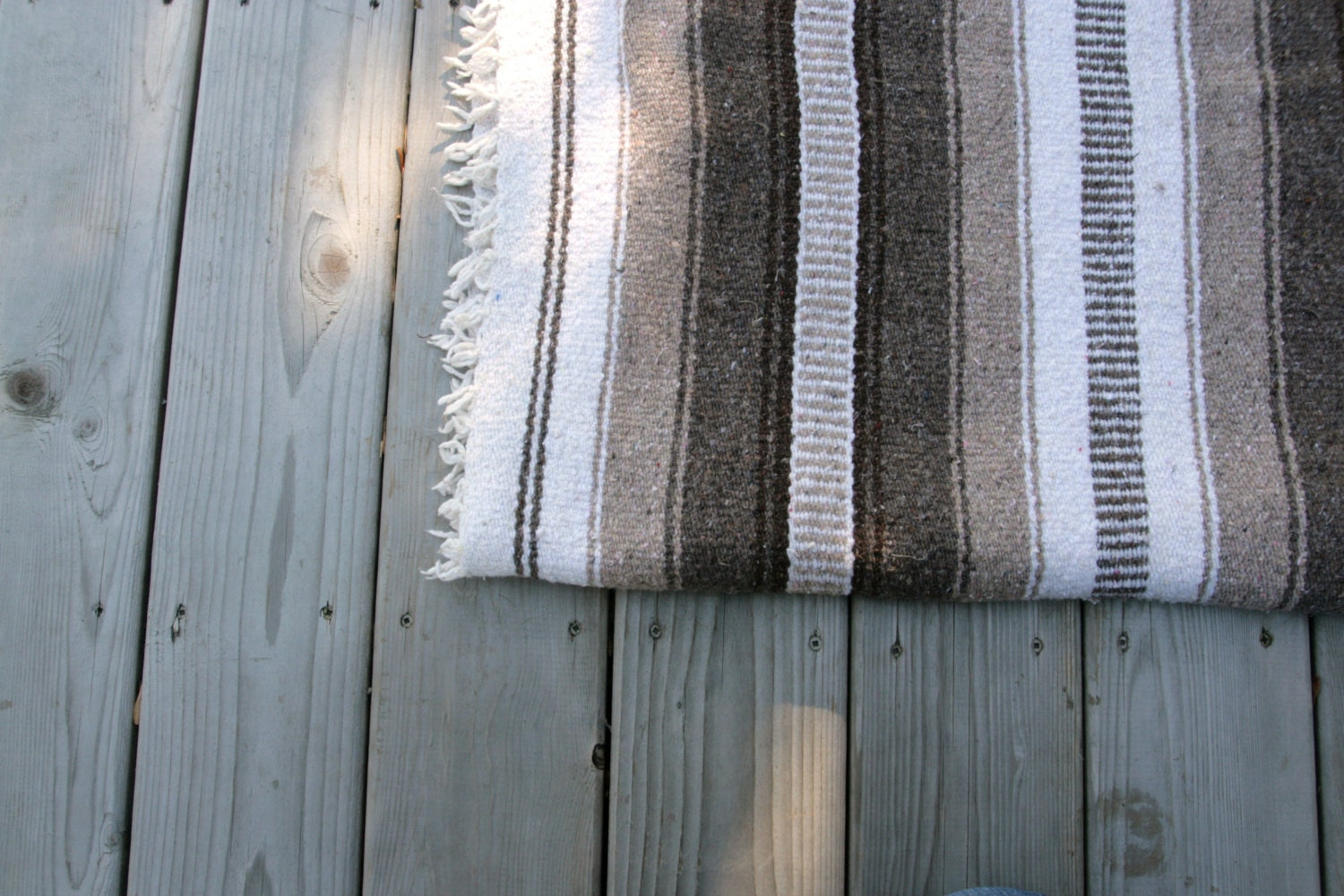 Vintage Blanket Mexican Cotton Woven Tribal By Quiverreclaimed