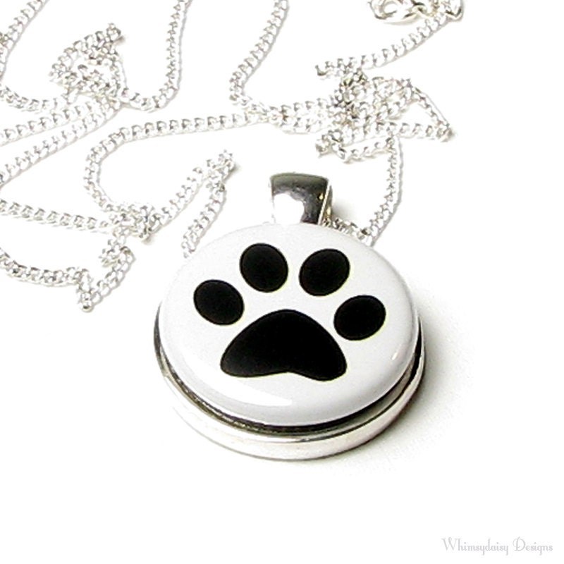 Dog Paw Print Magnetic Button Necklace Black White