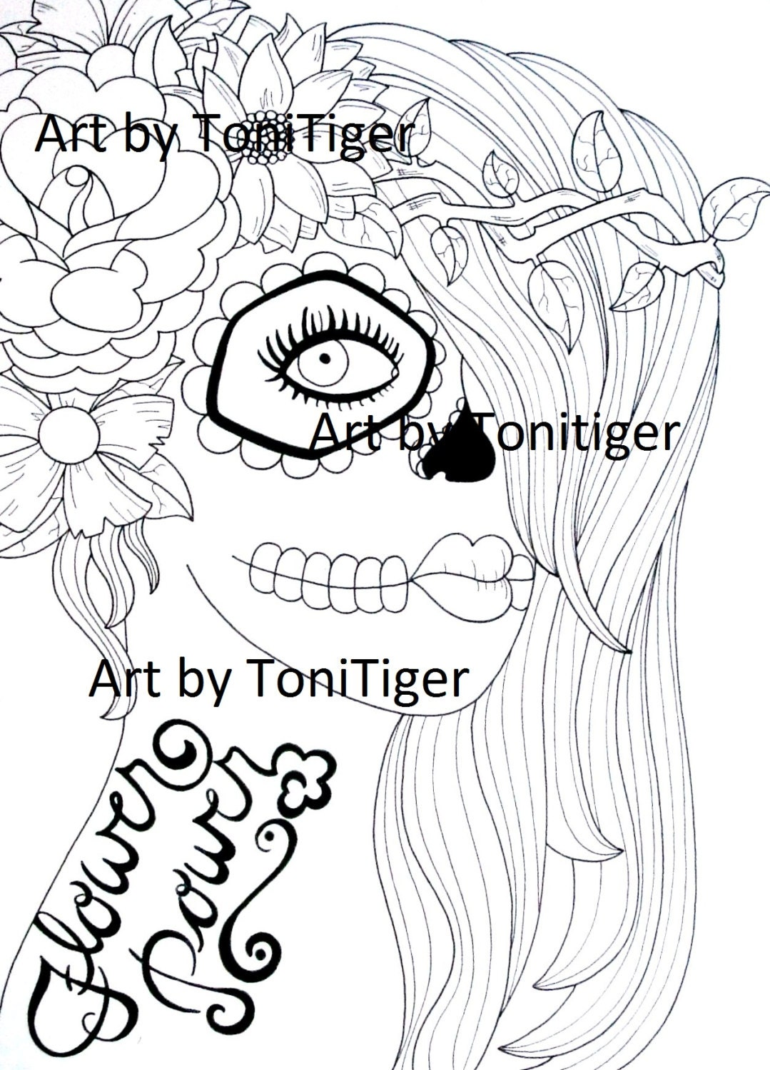 Instant Digital Download Coloring Page Flower By ToniTiger415
