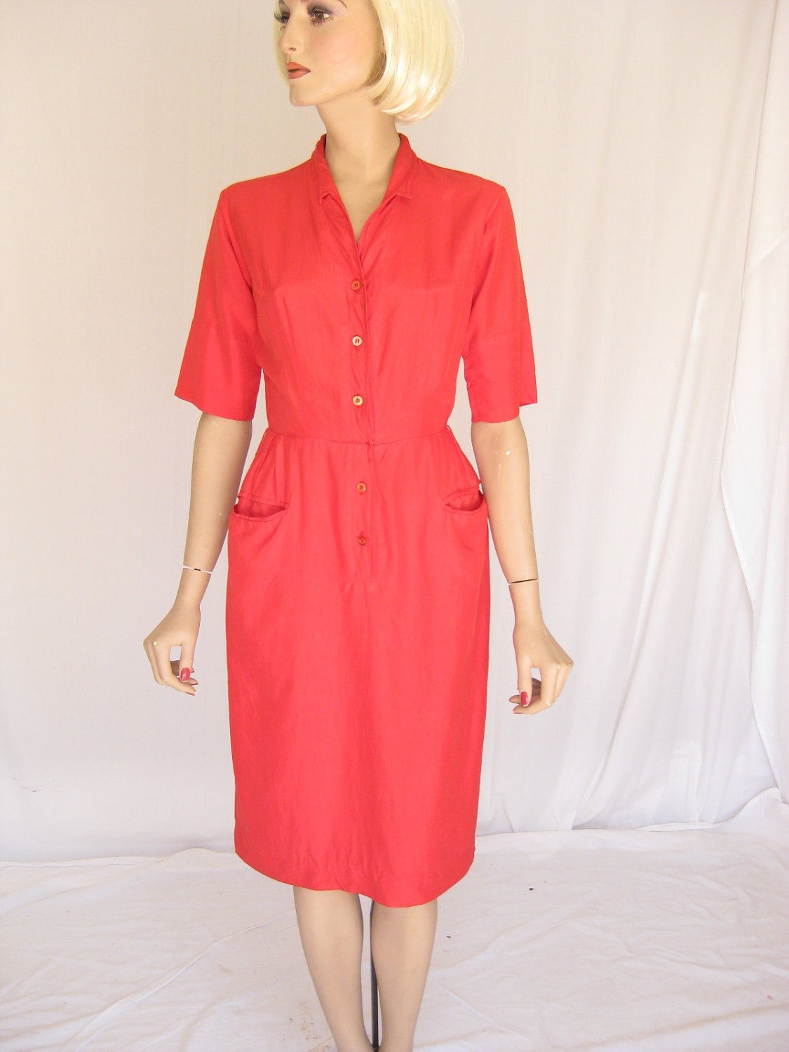 Vintage  50s Red Silk Wiggle Dress