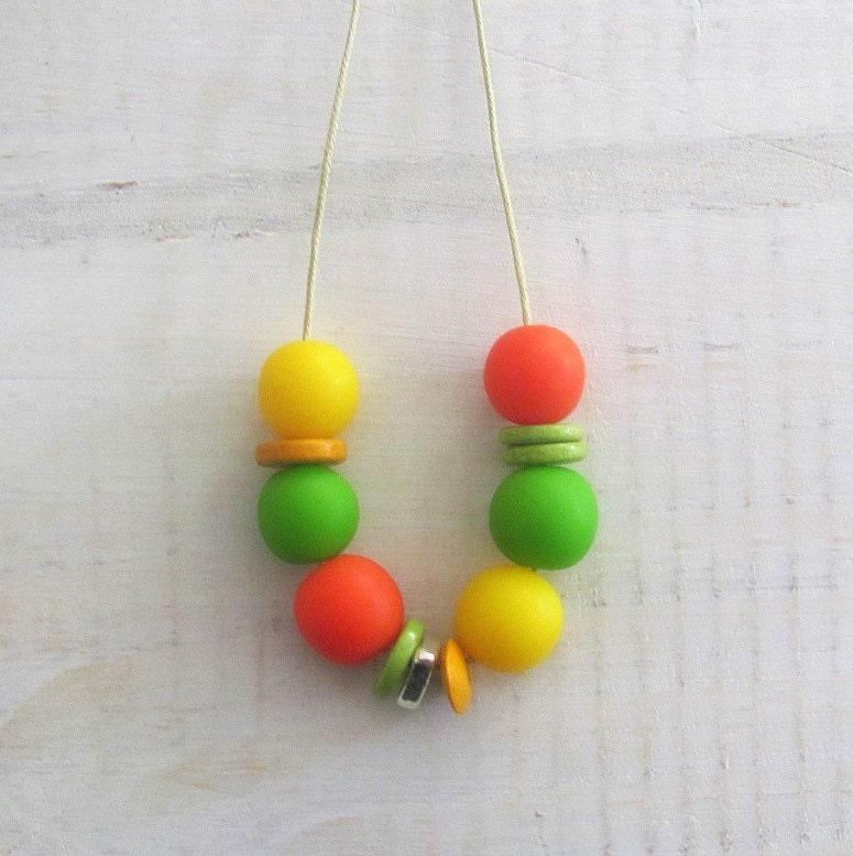 Lemon Lime Orange Garland Resin Necklace - earlybirdcreations