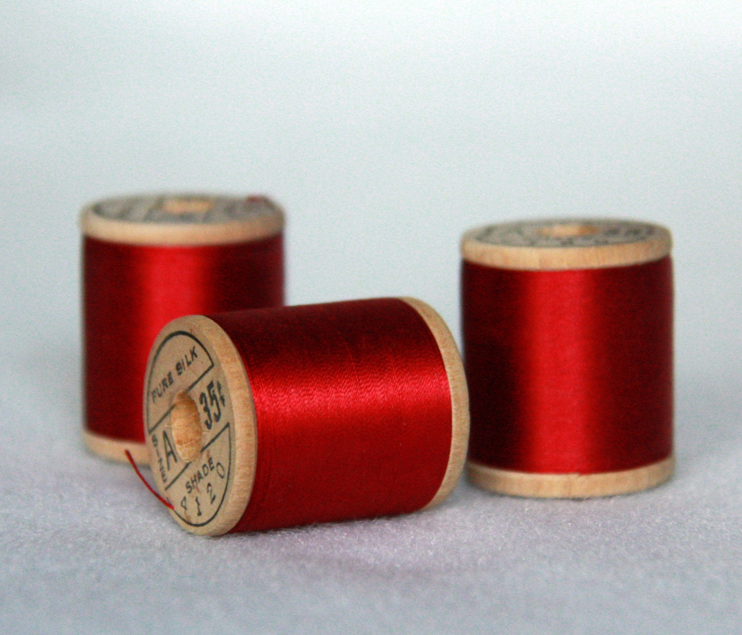 Vintage Silk Thread - Belding Corticelli - Red Embroidery Thread - Three Full Spools 100 Yards Each - BarefootBits