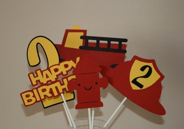 Fire truck theme centerpieces by scraptags on etsy