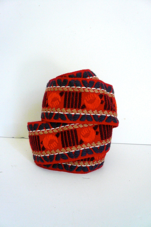 Vintage Woven Trim Red Orange Purple - LunaParkVintage
