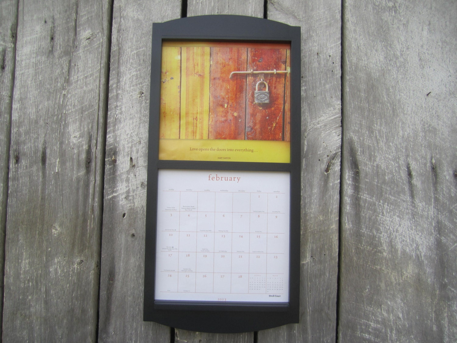 12 x 24 calendar holder wooden calendar frame by sugarshackshoppe. Black Bedroom Furniture Sets. Home Design Ideas