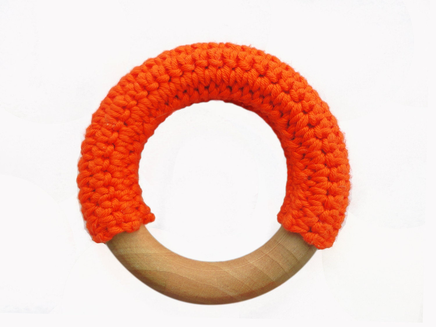 Crochet covered natural wooden baby teething ring  teether (Tangerine)