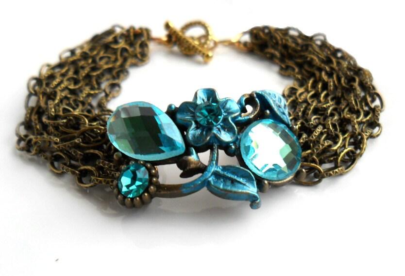 Victorian Style Bracelet Vintage looking Teal Crystal flower  Multiple chain layers bracelet. Romantic woodland wedding. Something blue - Daniblu
