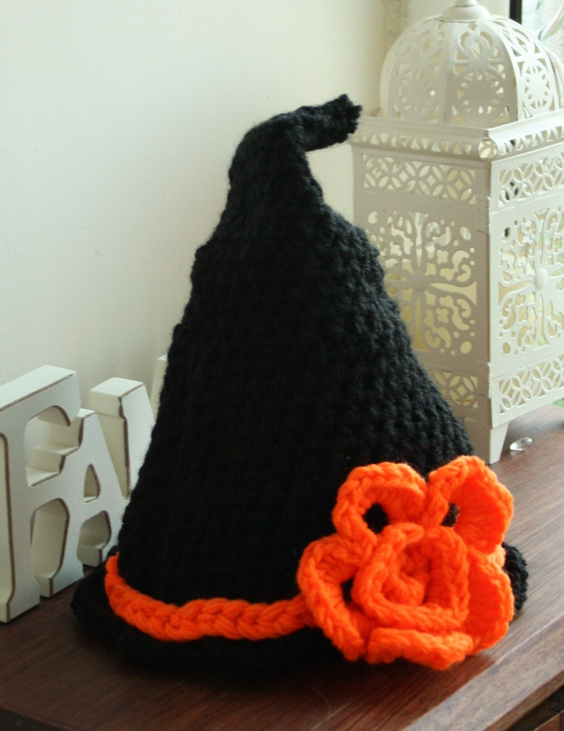 Free Crochet Baby Witch Hat Pattern : crochet halloween witch baby hat by TelferDesigns on Etsy