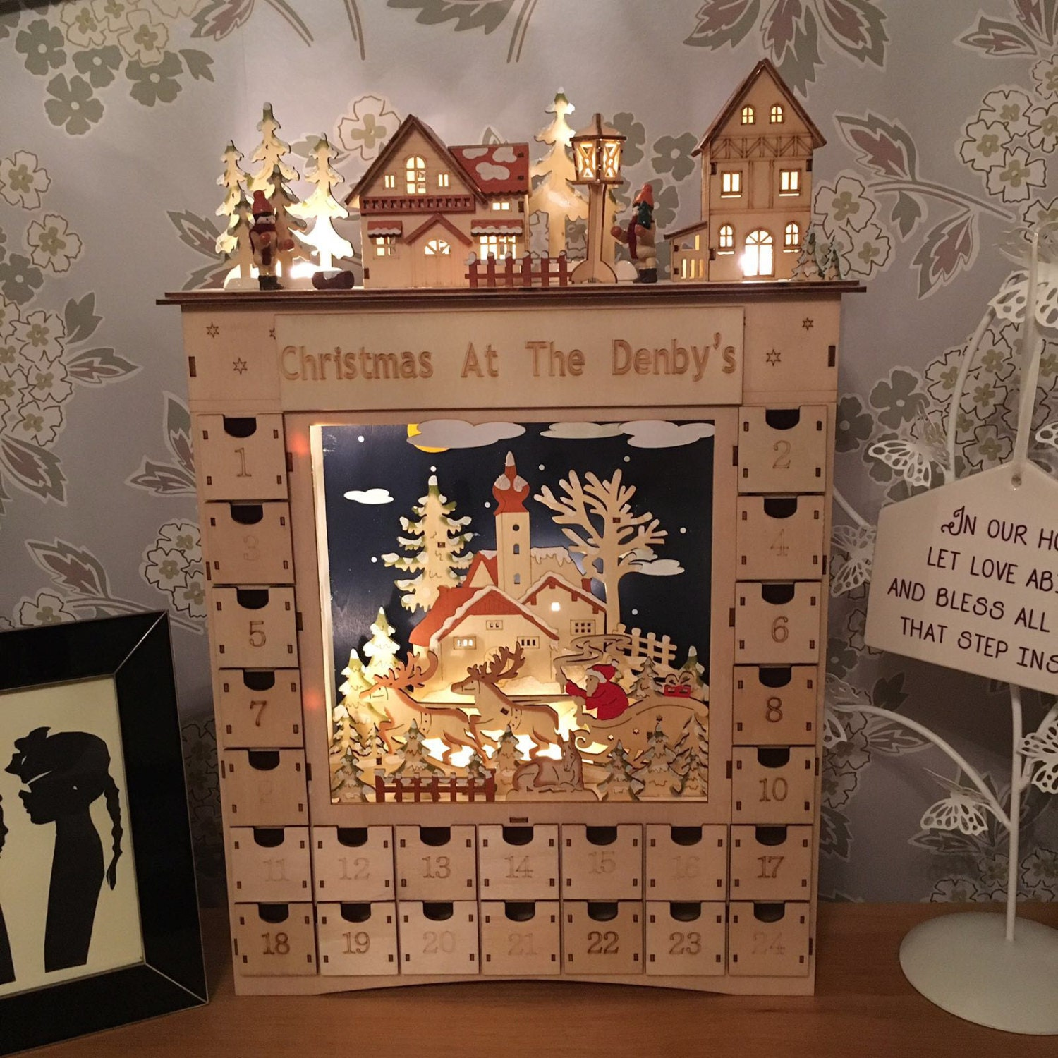 Wooden advent calendar a real winters dream personalised with family name engraved with lights