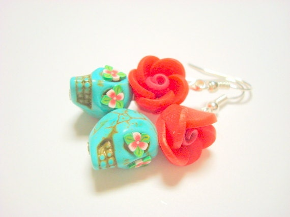 Turquoise and Red Day of the Dead Rose and Sugar Skull Earrings - PennysLane
