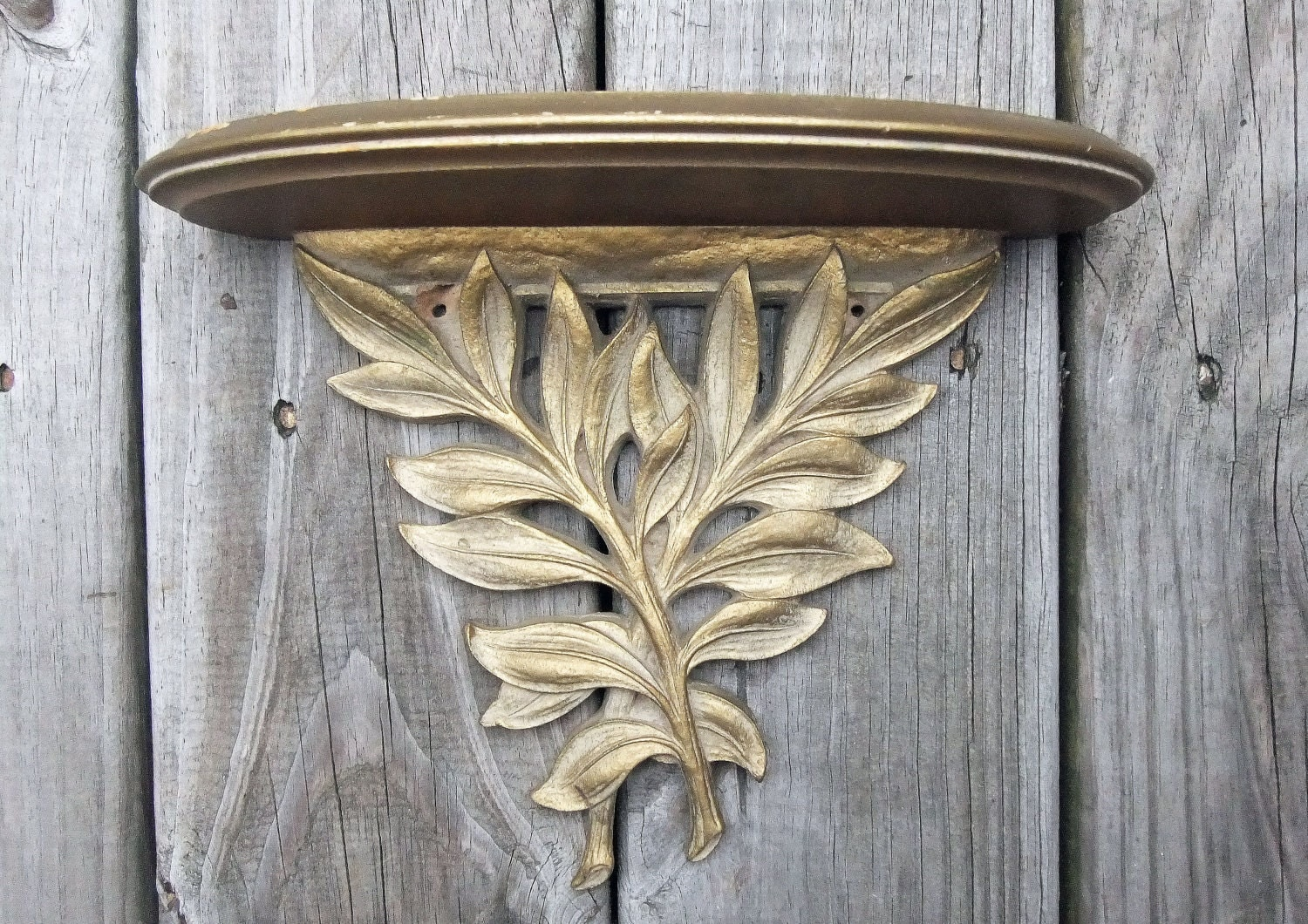 Vintage Golden Leaf Small Shelf Home Decor Wall Hanging Vintage Home Friendly - VintageHomeFriend