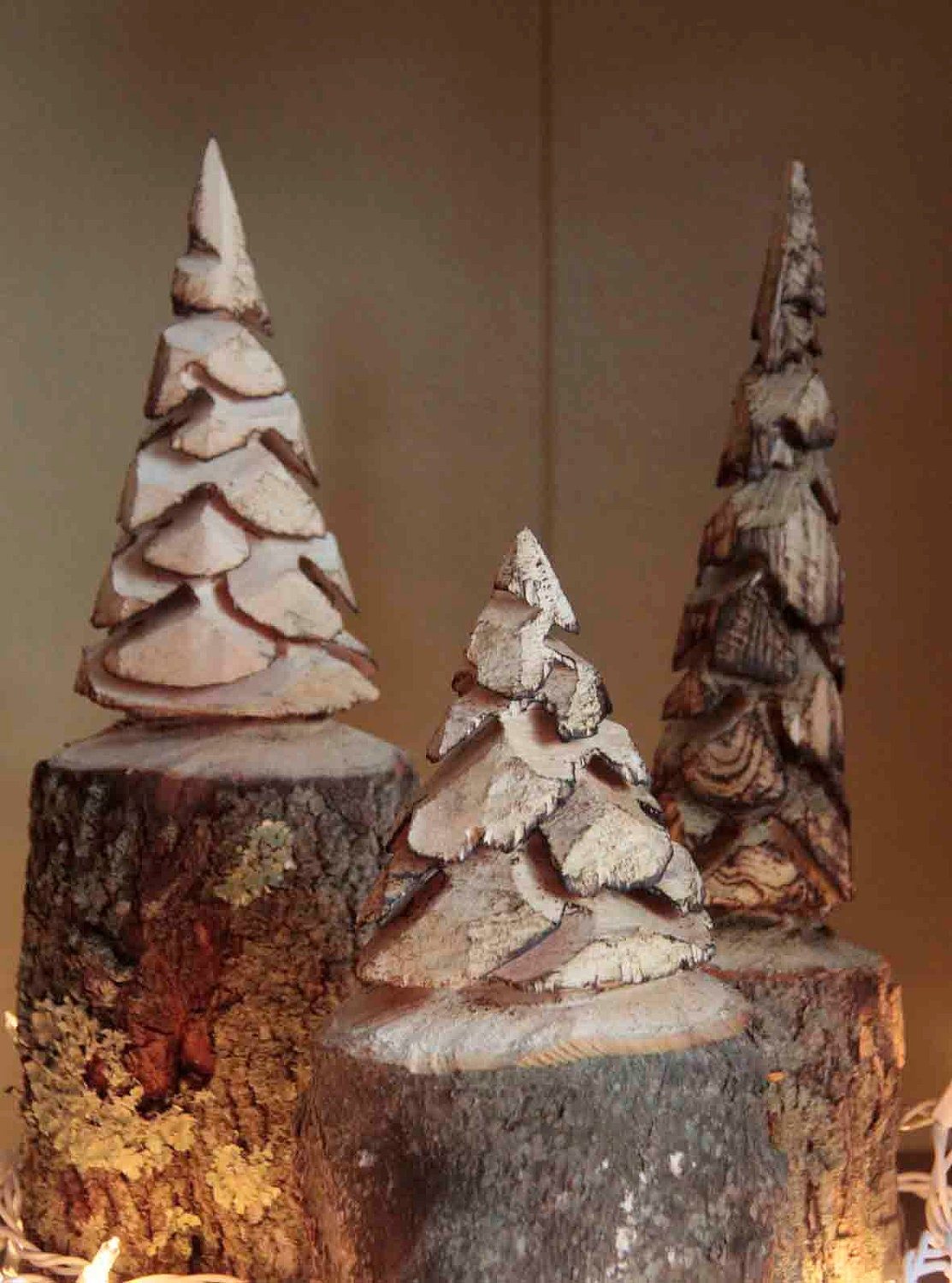 Set of chainsaw carved pine trees by customwoodcarvings