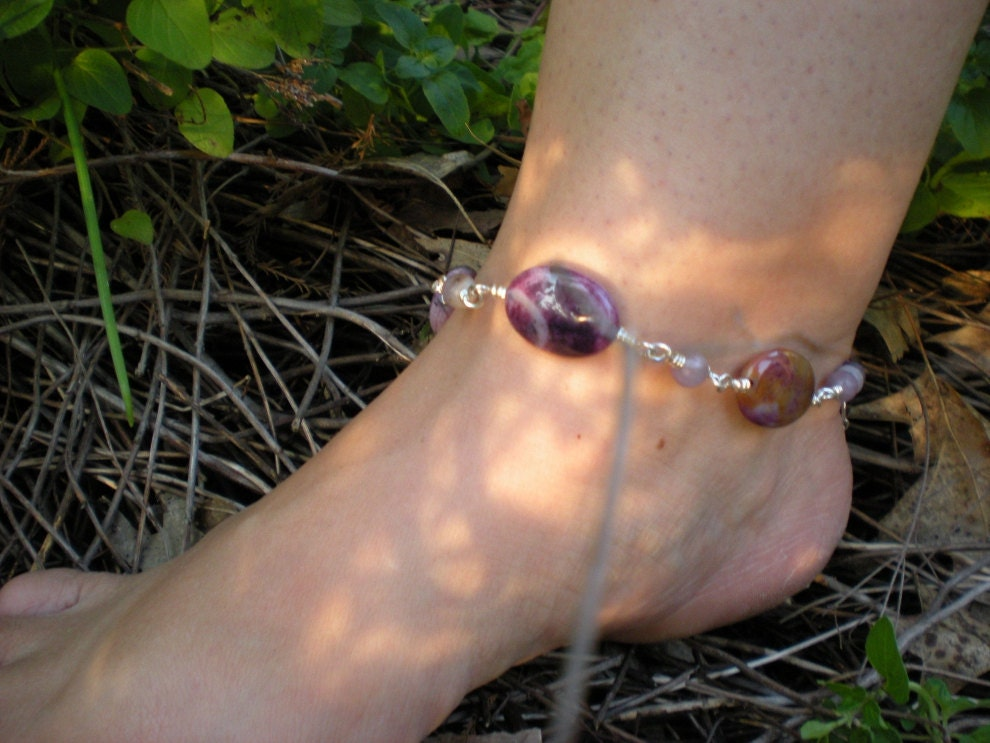 Running Wild anklet, sugalite, lilac stone, sterling silver, OOAK - greygirldesigns