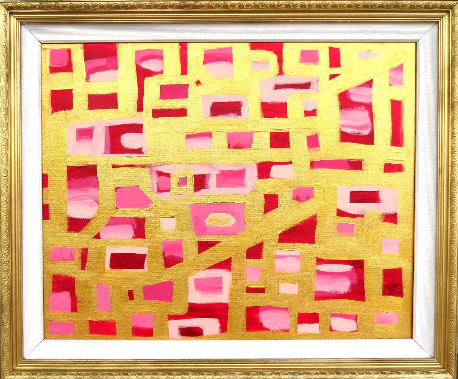 31 Rue Cambon Chanel Inspired Abstract with Gold and Pinks