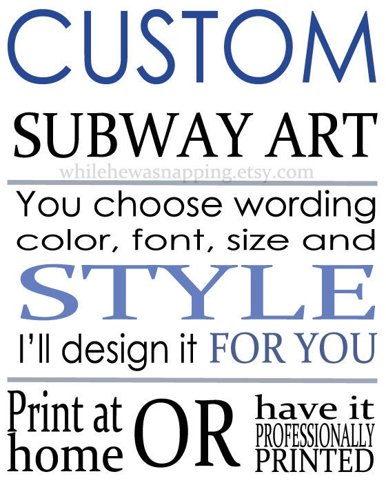 Custom digital subway art by whilehewasnapping on etsy for Subway art template microsoft word
