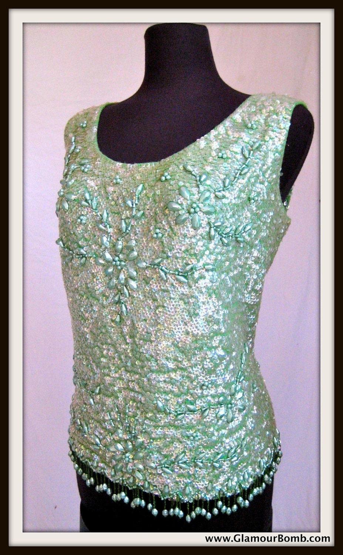 Vintage Pastel Green Beaded Sleeveless Top Circa 1960s