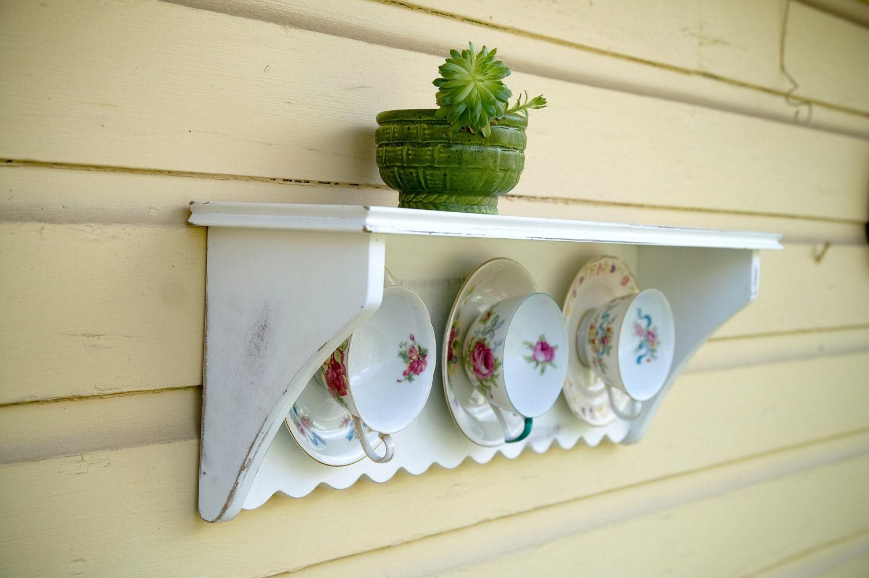 Repurposed Tea Cup Shelf