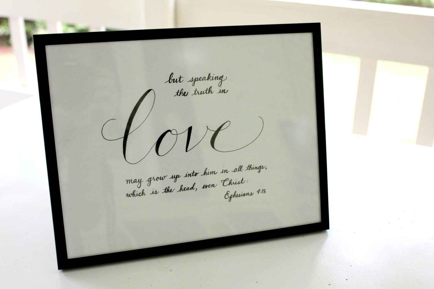 Items similar to framed calligraphy of bible verse