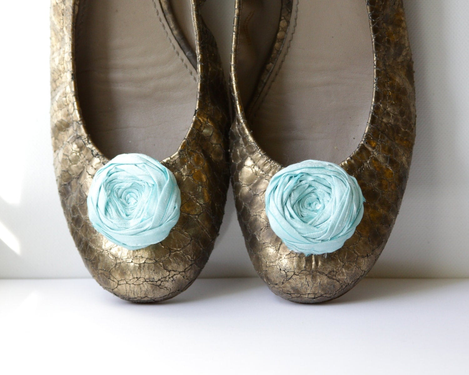 Rosette Shoe Clips Pool Blue Silk Flower Shoe Clips with Bluette Clips Rosette Shoe Clips Wedding or Just Because 1.75 inches