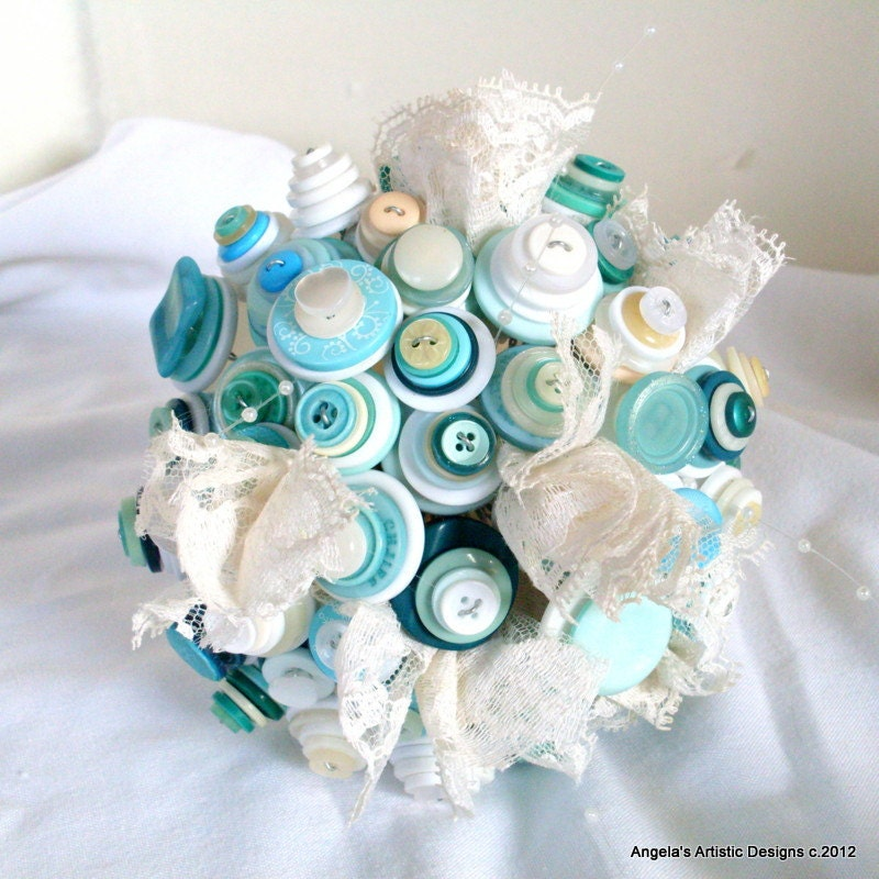 Teal and cream Wedding Button Bouquet set, boutonniere - AngelasArtistic