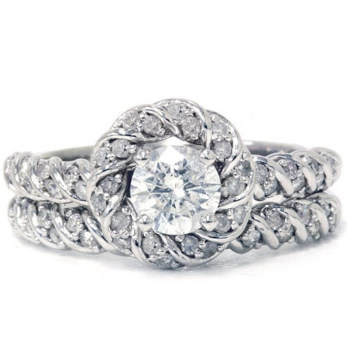 1 45ct halo intertwined engagement ring by