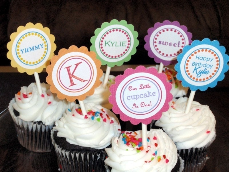 Printable PDF Personalized Custom Cupcake Toppers Print Your Own Tags