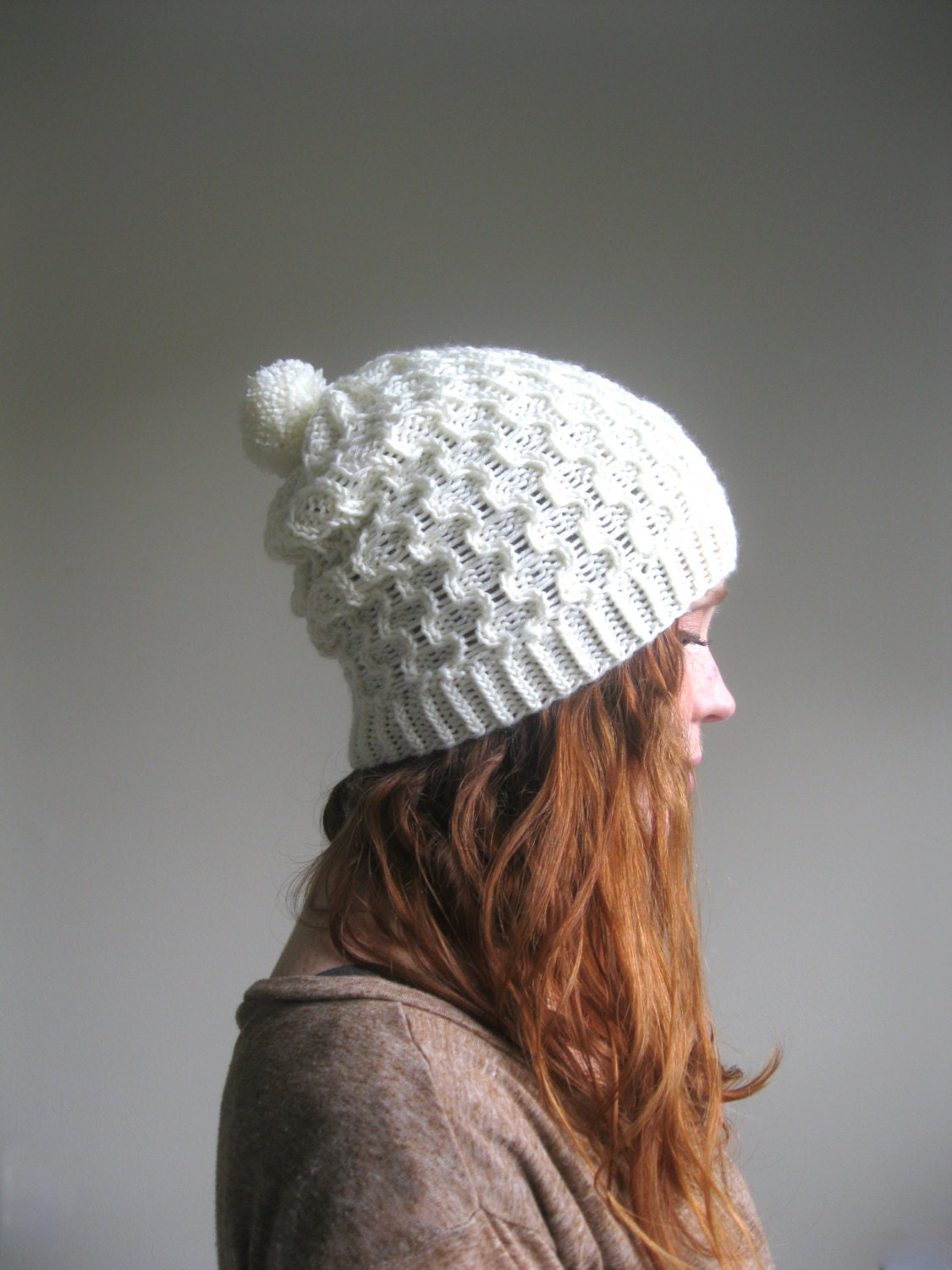 Cable Cream Knit Slouchy Pompom Hat Slouchy by hilaryfrazier