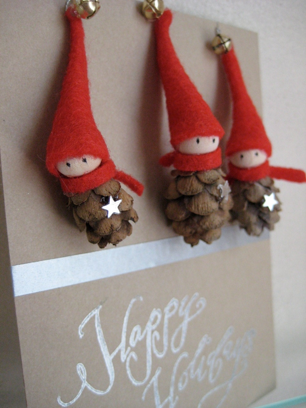 Tiny Pine Cone Elves -- set of 3 ornaments