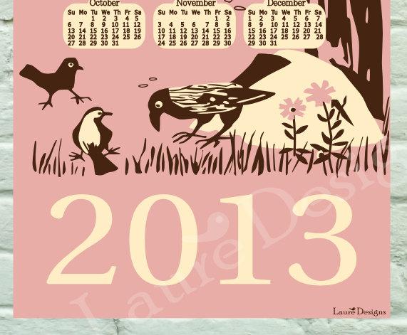 2013 Bird Calendar - Pink - 11x17 - lauredesigns