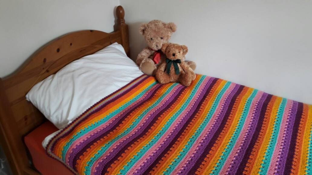 Handmade Crochet BlanketThrow  purplepinkorangeturquoise  Single bed  Sofa  Bright Cheerful Stripes