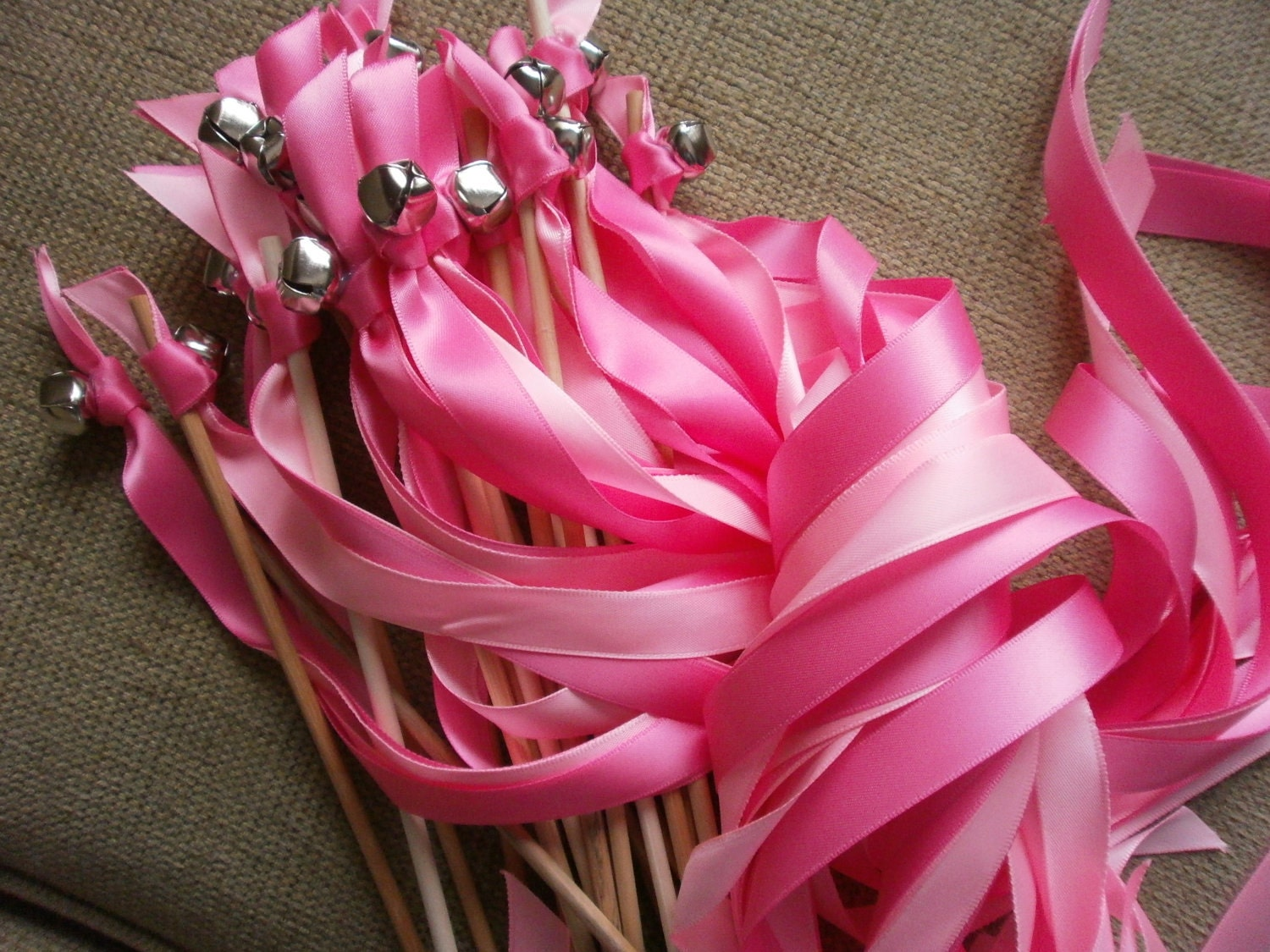 125 Shocking Pink and Pink Wedding wands (Two) ribbons of your choice.  Gold or Silver bell.