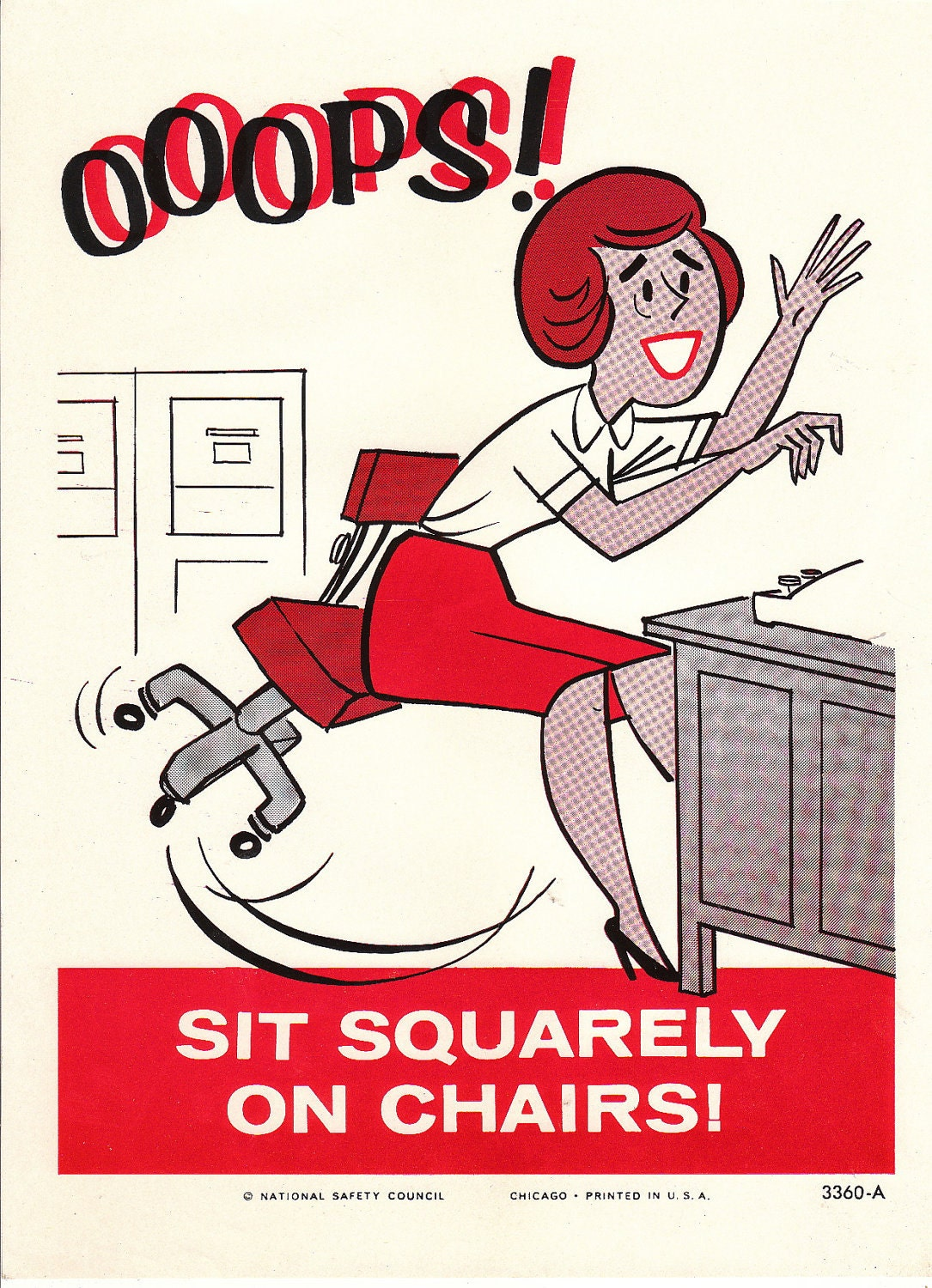 Vintage National Safety Poster Sit Squarely On By Niminsshop