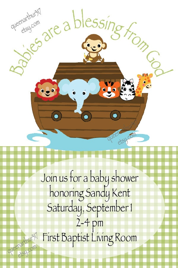 boy girl custom noah 39 s ark baby shower invitation printable