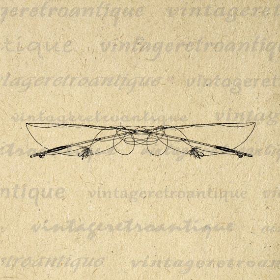 Fly Fishing Fishing Poles Digital Printable by VintageRetroAntique