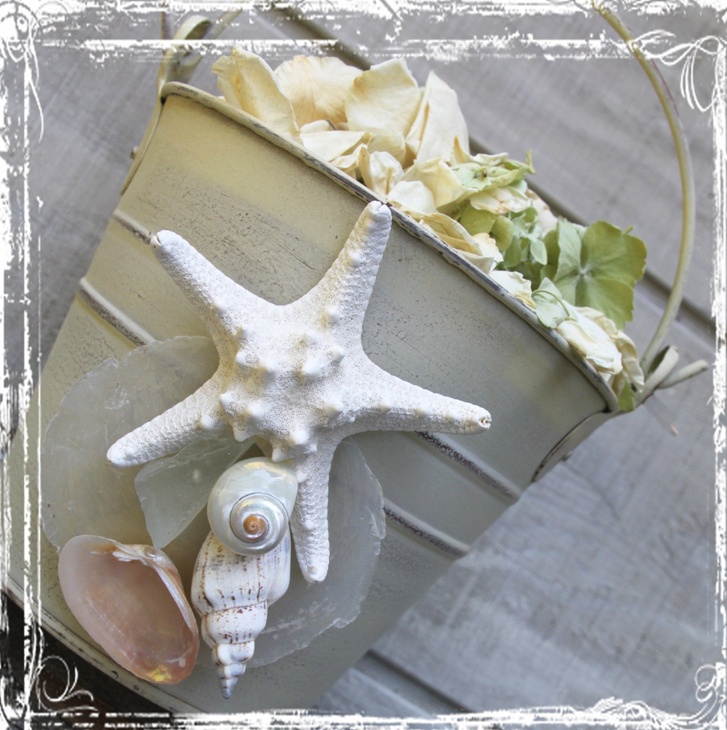 Sandcastle Flowergirl Bucket - Basket - Beach Weddings - Coastal Ocean Sea Wedding Decor Destination Starfish Seashells - White Wash - sparkleandposy