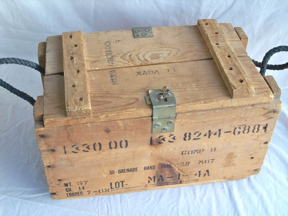Vintage U S Military Wooden Hand Grenade Crate By