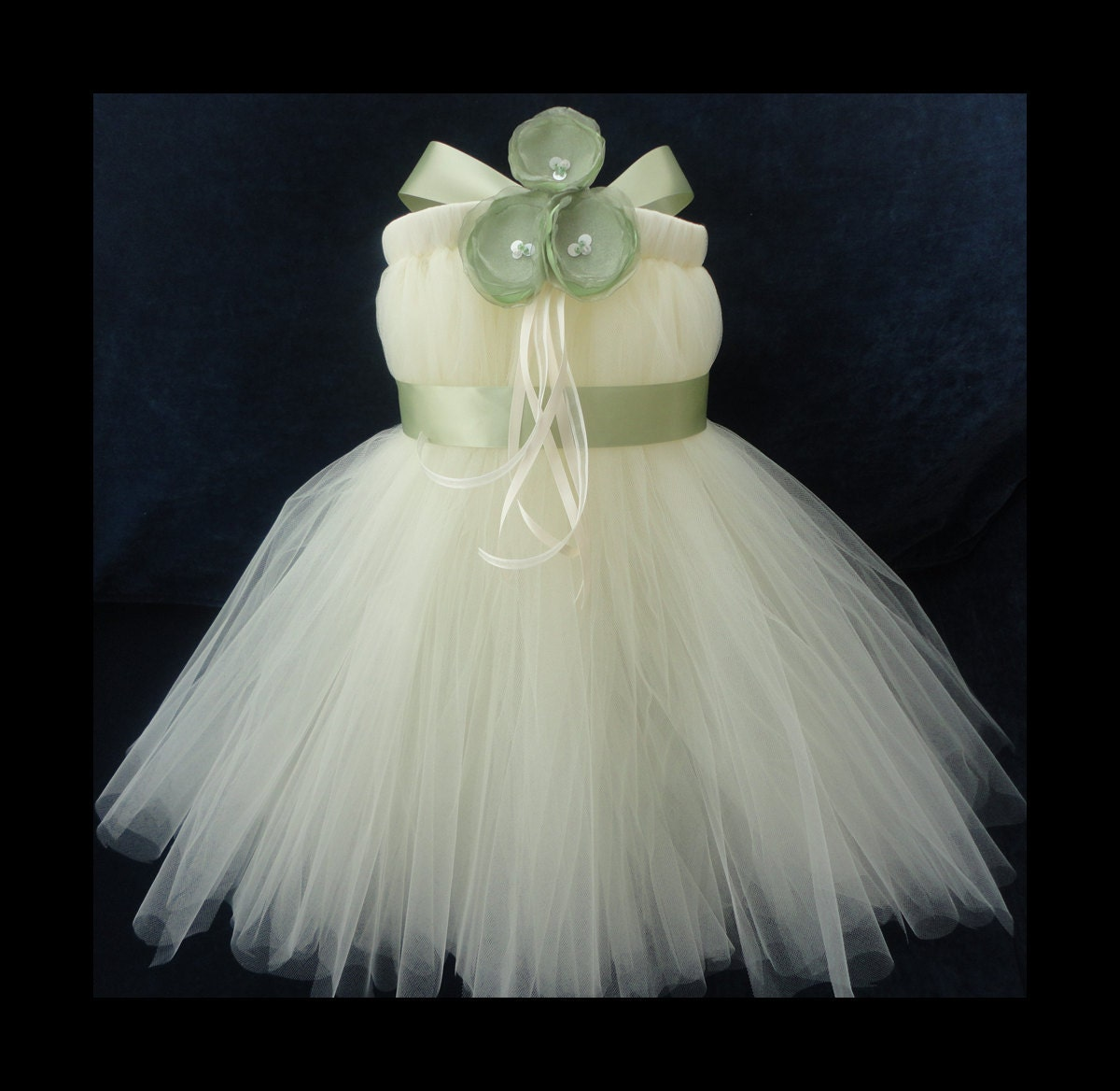Sage Ivory Flower Girl Dress By StrawberrieRose On Etsy