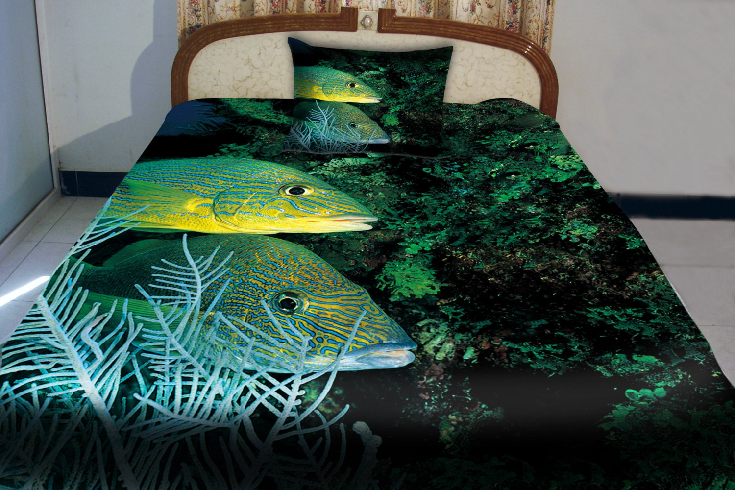 Items similar to sea fish quilt cover fish sheets sea fish for Fish bedding twin
