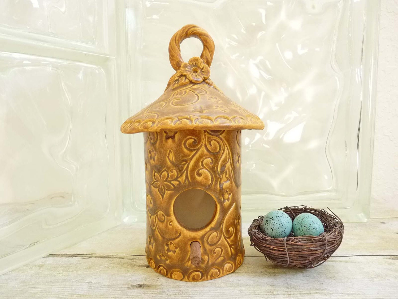 ... Whimsical Design Handcrafted Bird House Garden Art Handmade Pottery