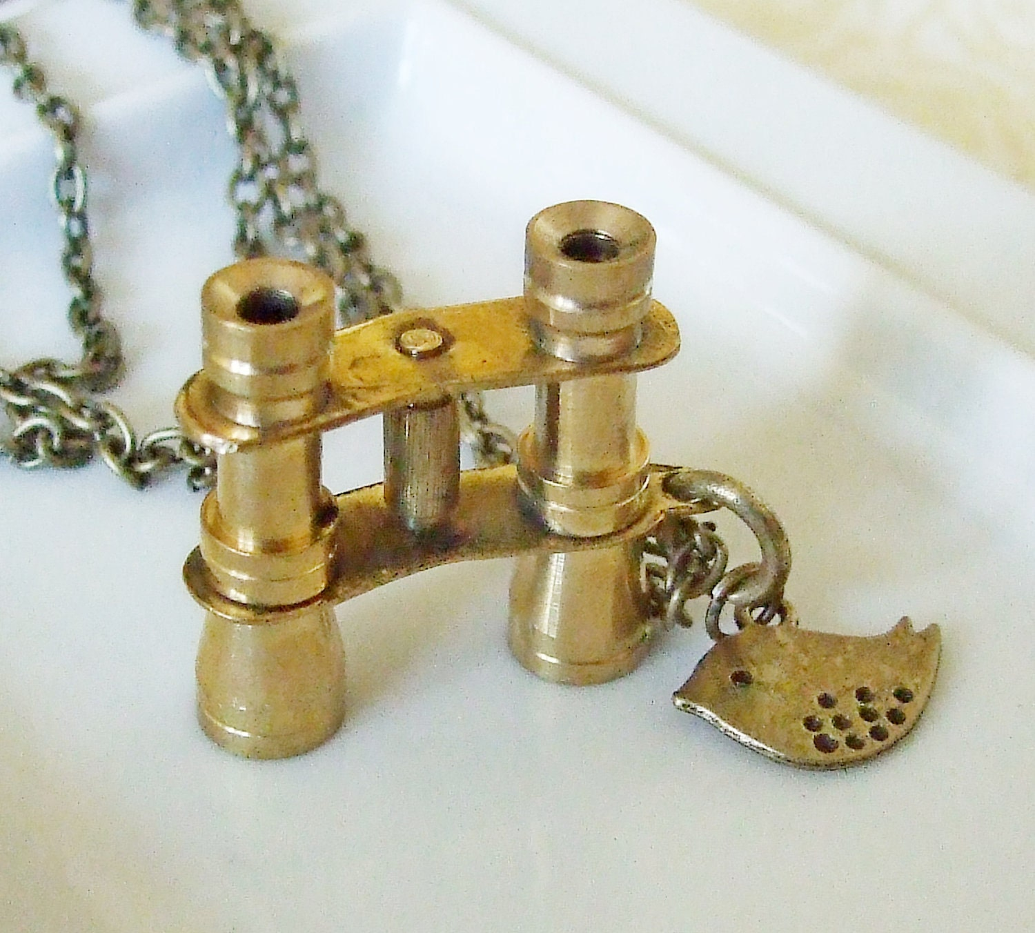Binoculars Necklace .. bird watching, binoculars, twitcher, bird necklace, pendant, bird charm, hobby, necklace, brass - beadishdelight