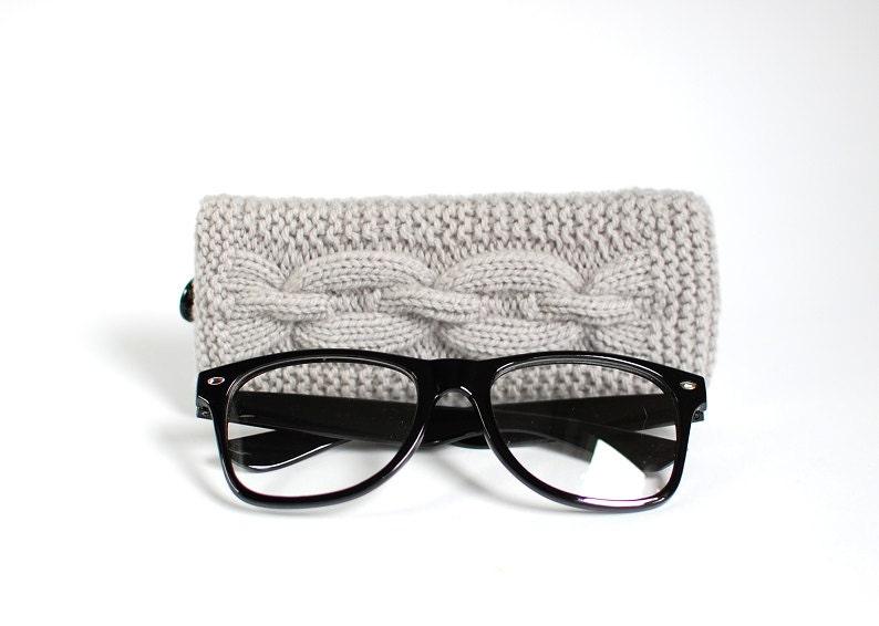 Gray Glasses Case. Grey Reading Glasses Case. Eyeglasses or Sunglasses Holder. Mens Glasses Holder. - MallinaDesign