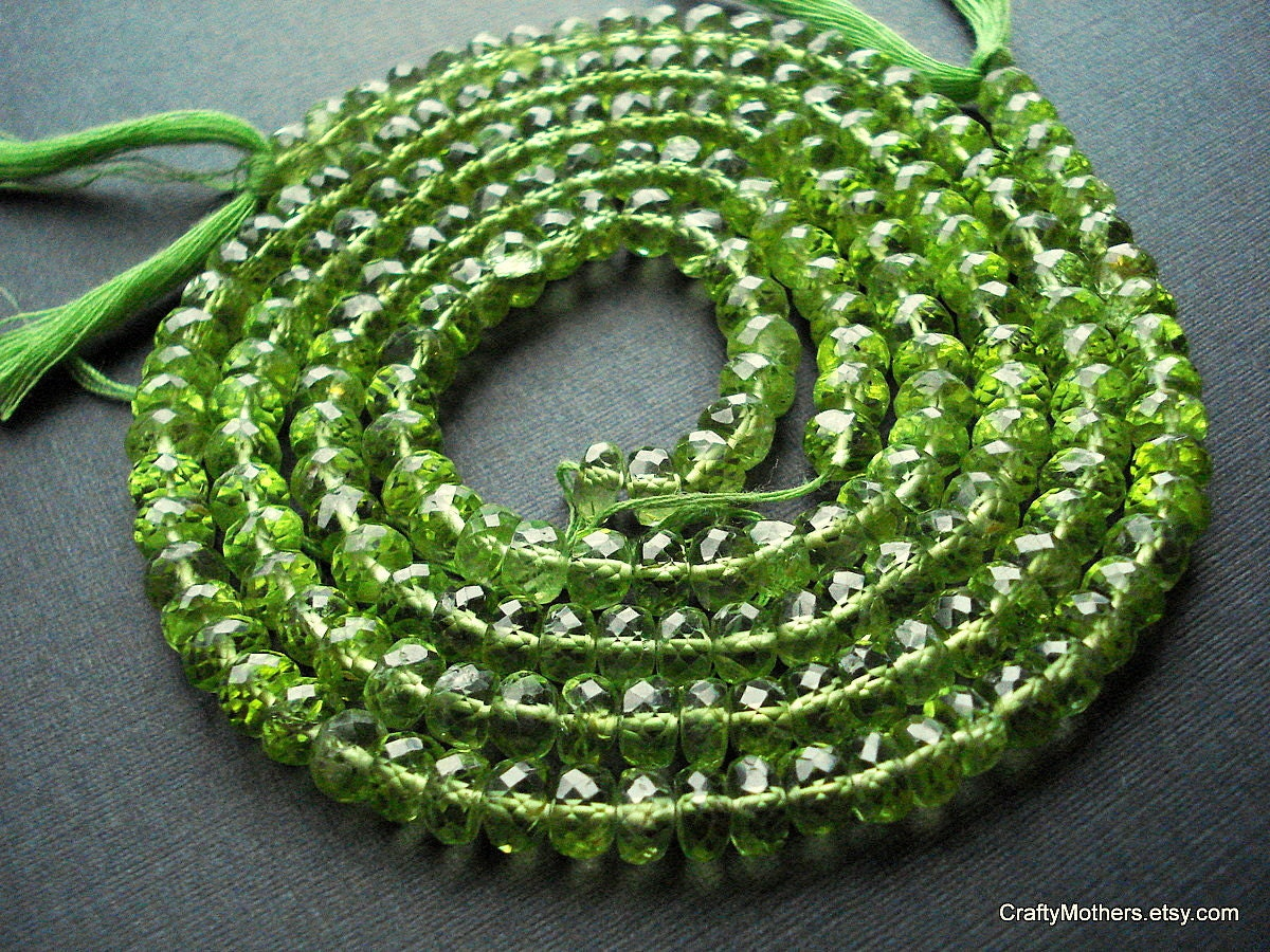 "SALE - Grass Green Peridot Microfaceted Rondelles, 6mm - 3"" Strand"