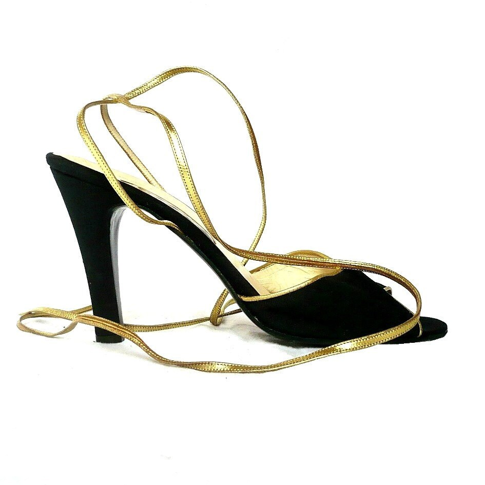 SERGIO ROSSI Italian Peep Toe HIgh Heel with Gold Straps - bOmode