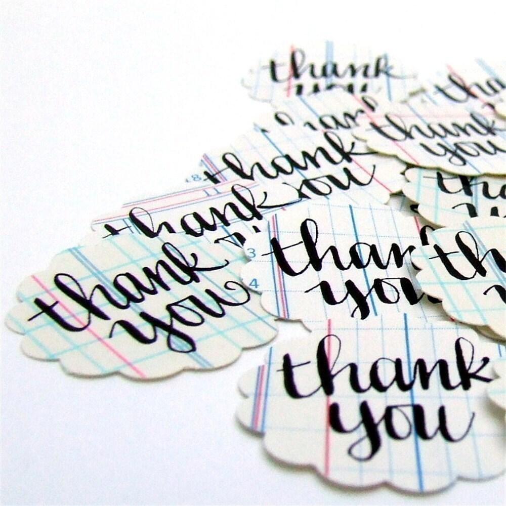 Thank You Stickers, 20 Handwritten Vintage Ledger Paper Envelope Seals