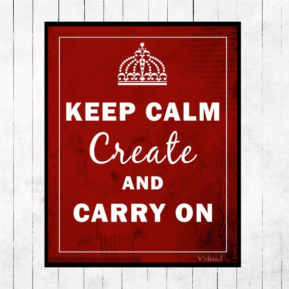 Art, Print, Keep Calm, Poster, 8x10, Keep Calm and Carry On, Red, Black