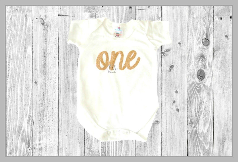 Rose Gold Glitter ONE Baby Bodysuit  1st birthday outfit baby outfit glitter bodysuit cake smash outfit 1st birthday bodysuit