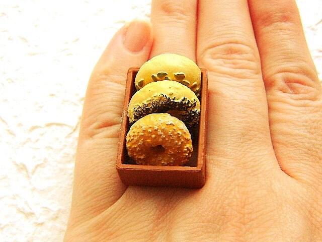 Продовольственная кольцо Kawaii Бублик