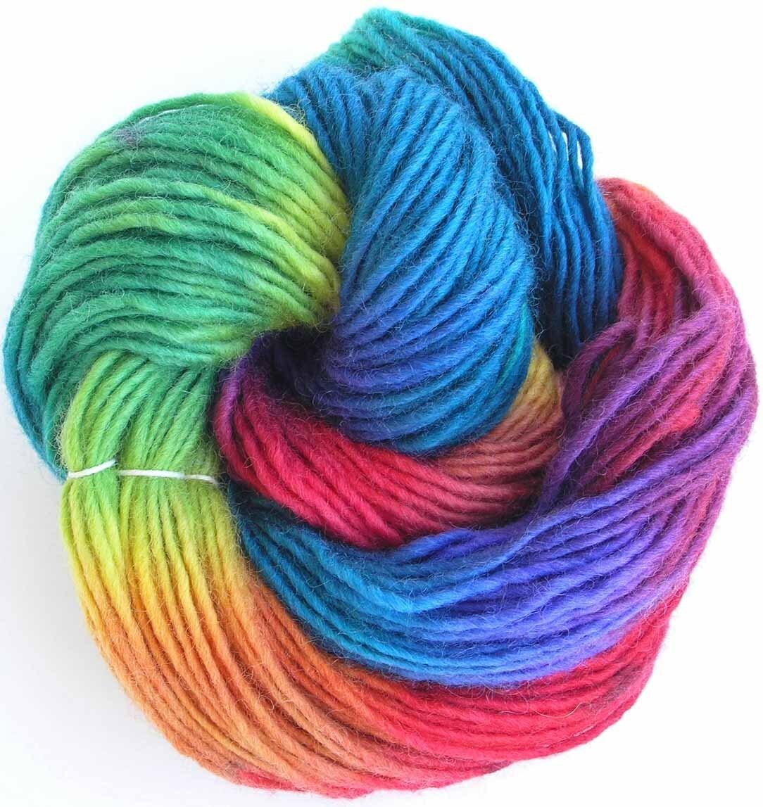 Hand Dyed Yarn : Hand Dyed Yarn Chunky Wool Yarn Rainbow Candy by FiberFusion